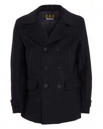 Lifestyle Mens Batten Wool Jacket, Navy Blue Pea Coat
