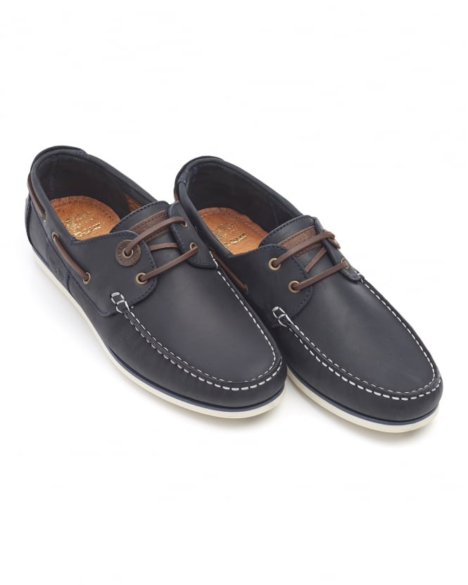 Barbour Lifestyle Mens Capstan Boat Shoes, Blue Leather Shoes