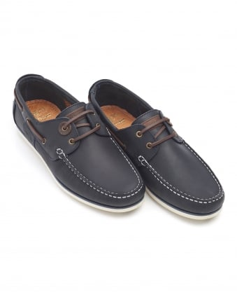Lifestyle Mens Capstan Boat Shoes, Blue Leather Shoes