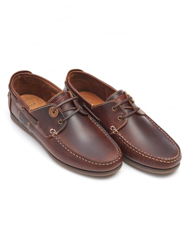 Barbour Lifestyle Mens Capstan Boat Shoes, Mahogany Leather Shoes