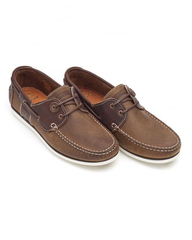 Barbour Lifestyle Mens Capstan Boat Shoes, Two Tone Beige Brown Shoes