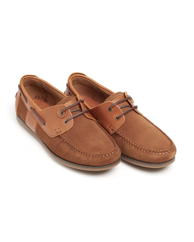 Barbour Lifestyle Mens Capstan Deck Shoe, Lace-Up Cognac Moccasin