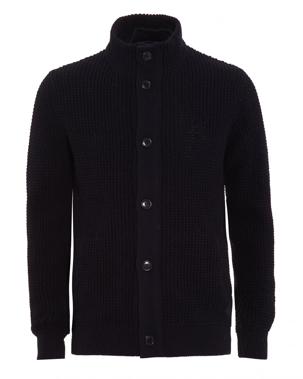 Barbour Lifestyle Mens Cardigan, Helm Button Through Navy Blue Knit