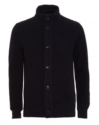 Lifestyle Mens Cardigan, Helm Button Through Navy Blue Knit