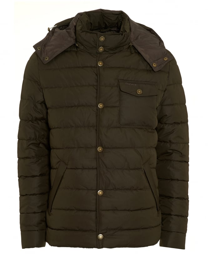 Barbour Lifestyle Mens Cowl Coat, Quilted Puffa Olive Green Jacket