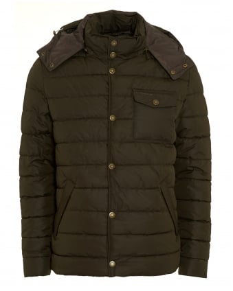 Lifestyle Mens Cowl Coat, Quilted Puffa Olive Green Jacket