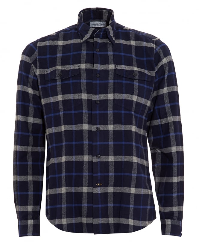 Barbour Lifestyle Mens Forestay Tailored Checkered Navy Blue Shirt