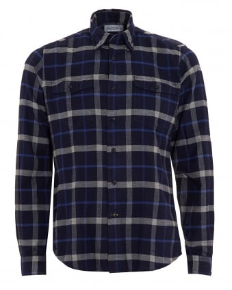 Lifestyle Mens Forestay Tailored Checkered Navy Blue Shirt