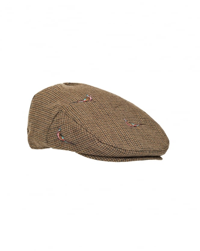 Barbour Lifestyle Mens Hat, Pheasant Brown Check Flat Cap