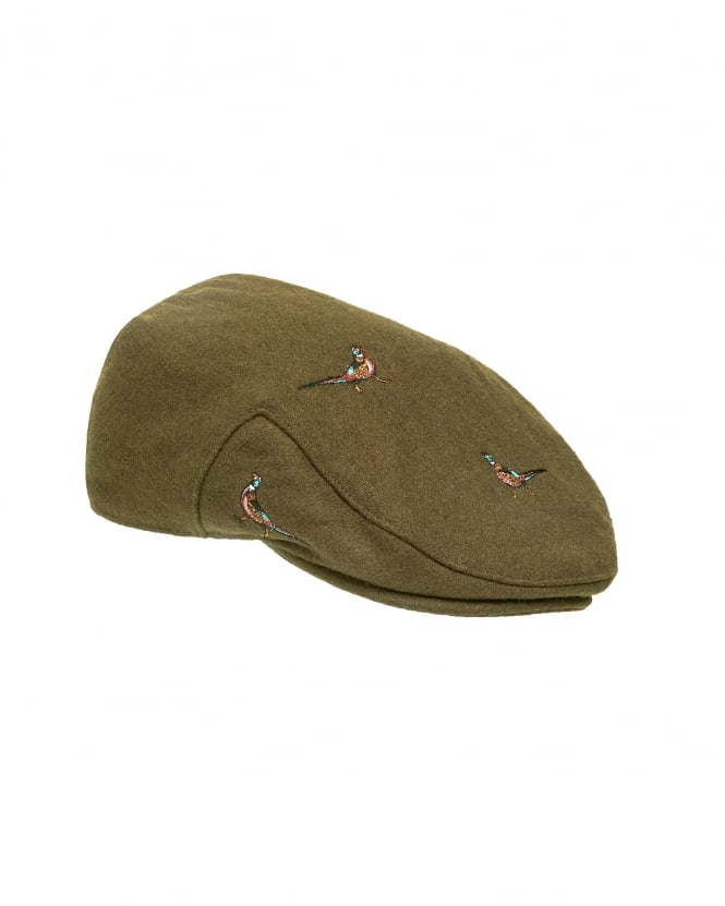 Barbour Lifestyle Mens Hat, Pheasant Olive Green Flat Cap