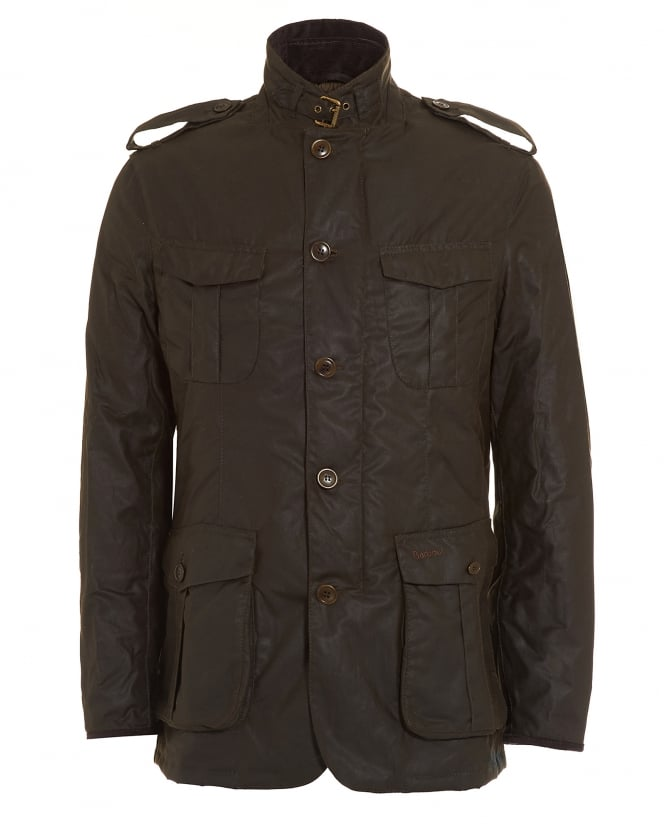 Barbour Lifestyle Mens Jacket, Dock Wax Olive Green Coat