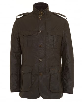 Lifestyle Mens Jacket, Dock Wax Olive Green Coat