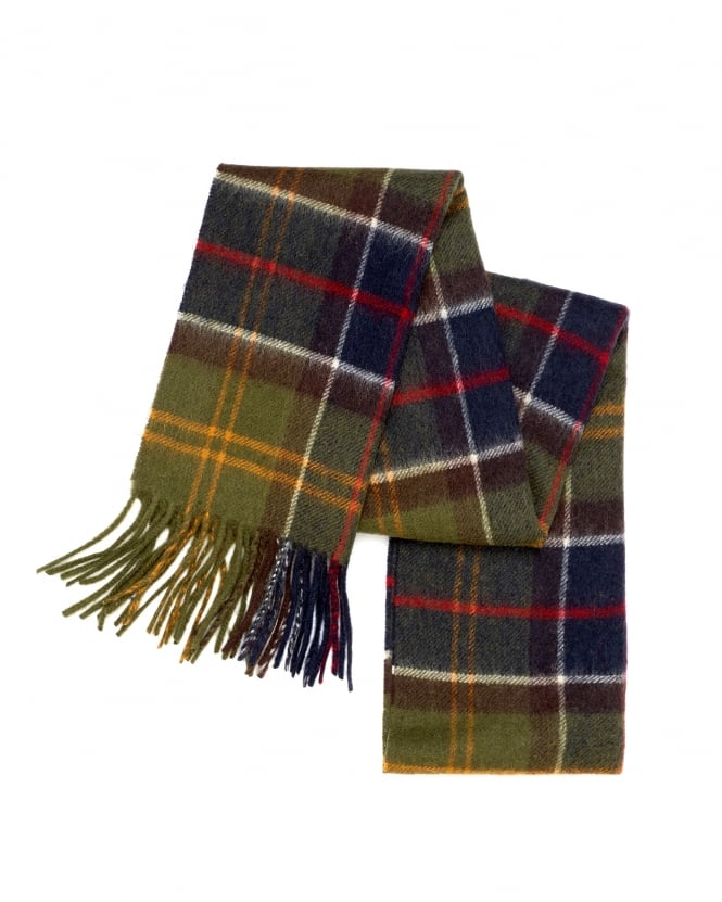 Barbour Lifestyle Mens Merino Cashmere Green Tartan Scarf