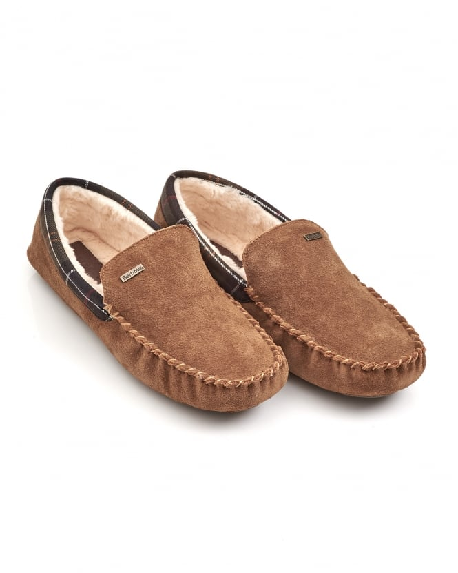 Barbour Lifestyle Mens Monty Moccasin Camel Slippers