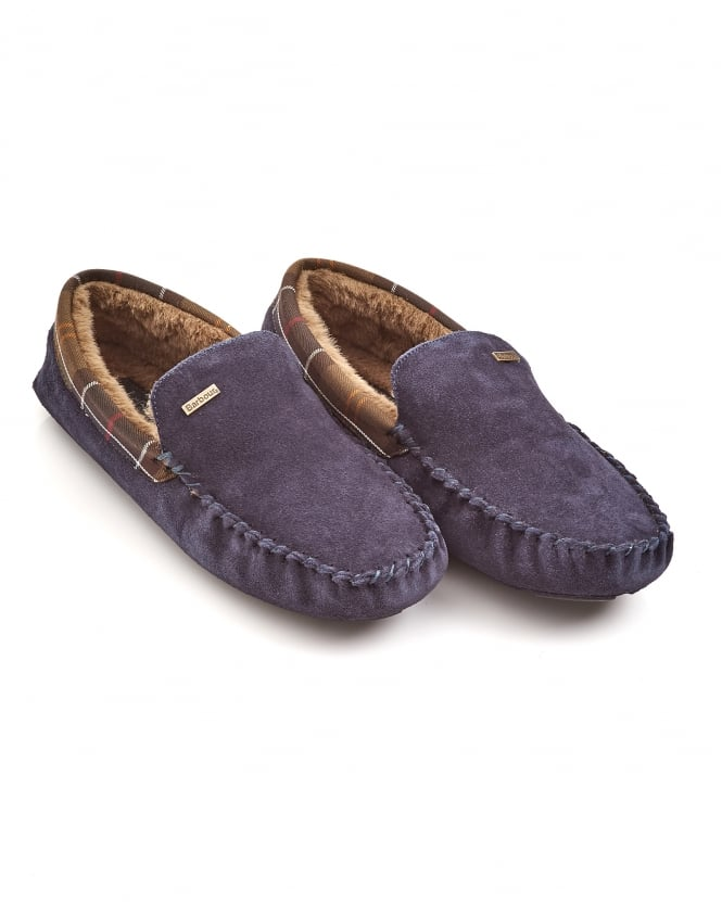 Barbour Lifestyle Mens Monty Moccasin Navy Blue Slippers