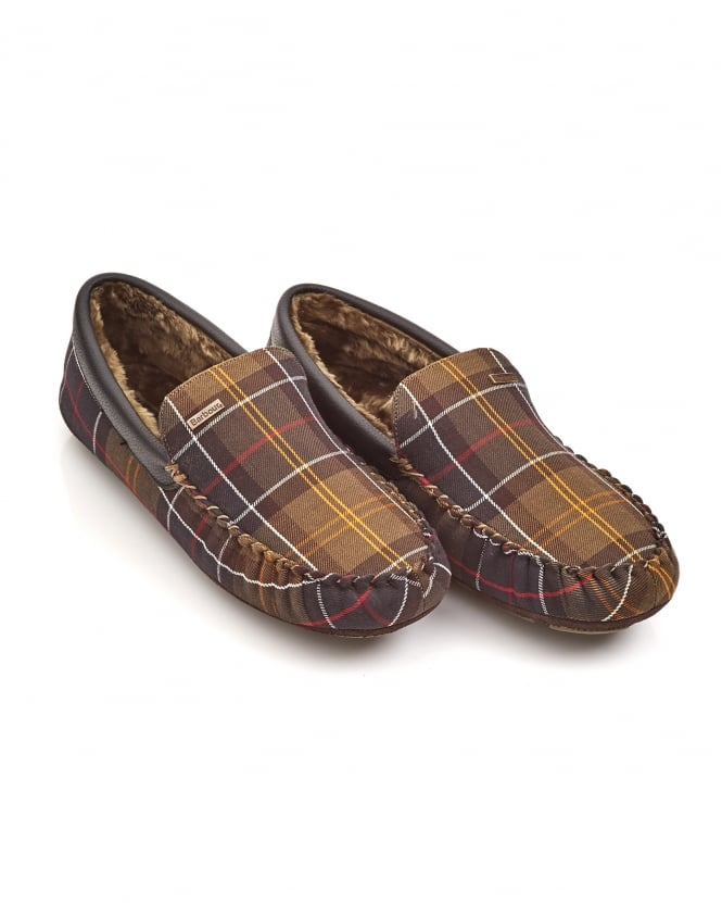 Barbour Lifestyle Mens Monty Moccasin Tartan Patterned Slippers