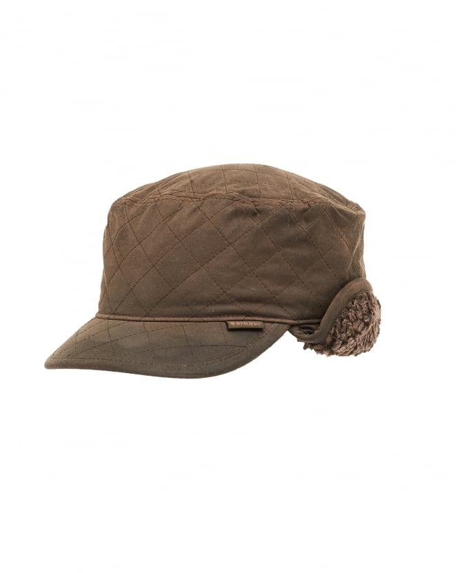 Barbour Lifestyle Mens Stanhope Wax Trapper Olive Green Hat