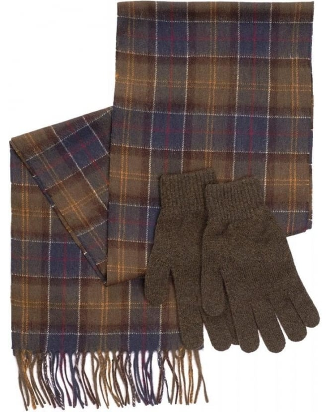 Barbour Lifestyle, Tartan Scarf with Olive Gloves Gift Set