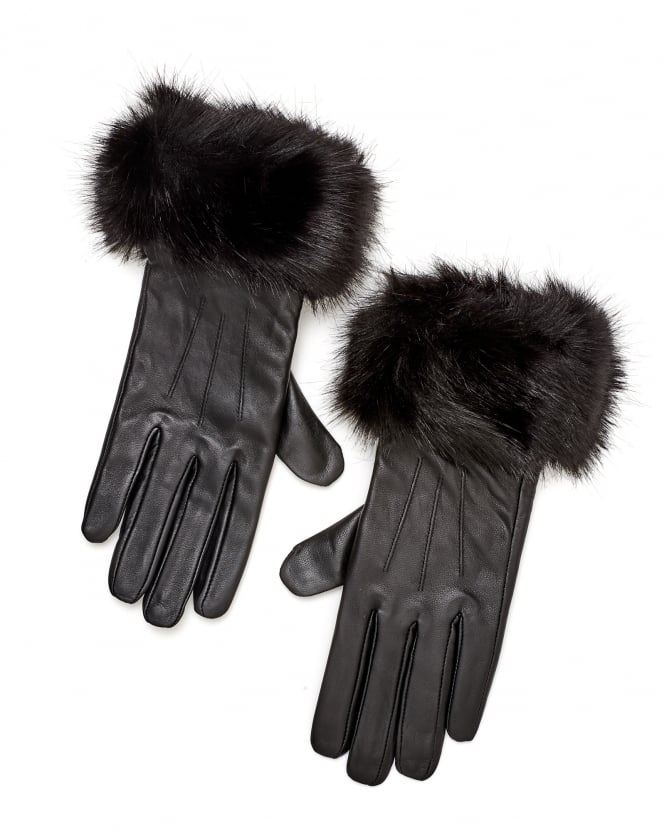 Barbour Lifestyle Womens Faux Fur Quilted Leather Gloves