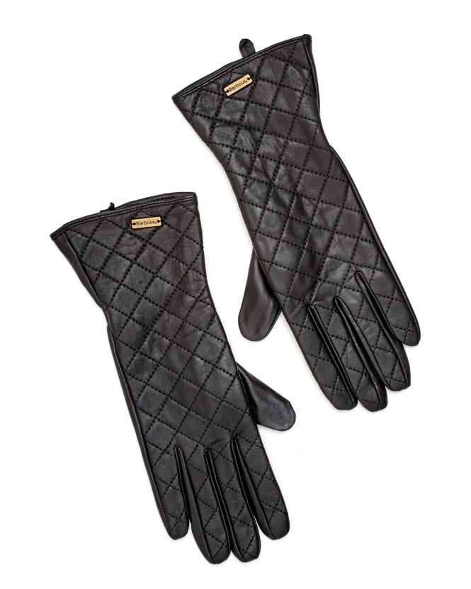 Barbour Lifestyle Womens Gauntlet Quilted Leather Gloves