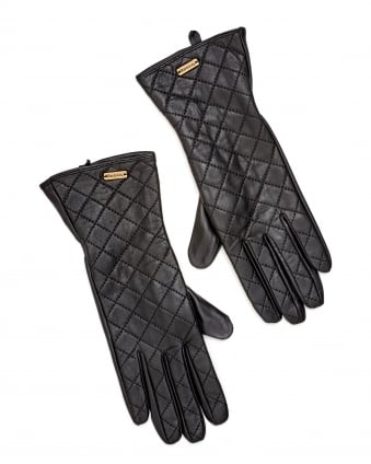 Lifestyle Womens Gauntlet Quilted Leather Gloves