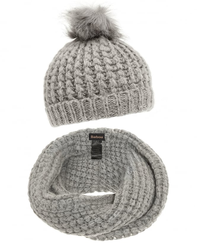 Barbour Lifestyle Womens Silver Grey Snood Scarf and Hat Set