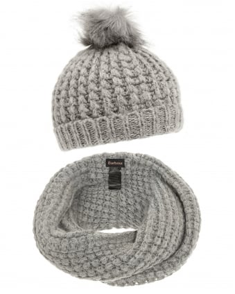 Lifestyle Womens Silver Grey Snood Scarf and Hat Set
