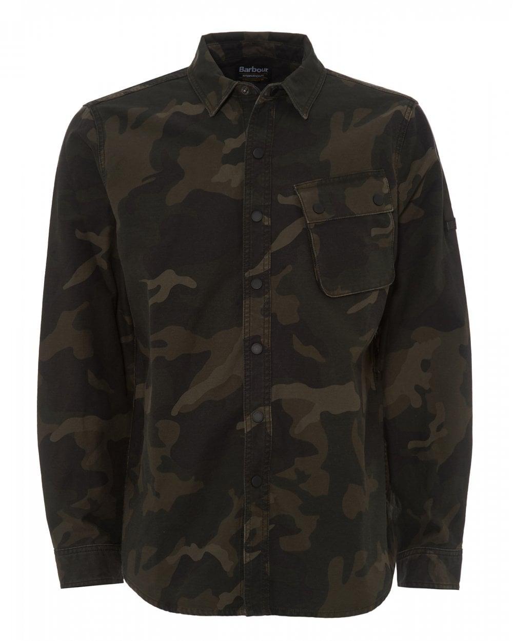 0708e4c703223 Barbour International Mens Cammo Overshirt, Dark Olive Jacket