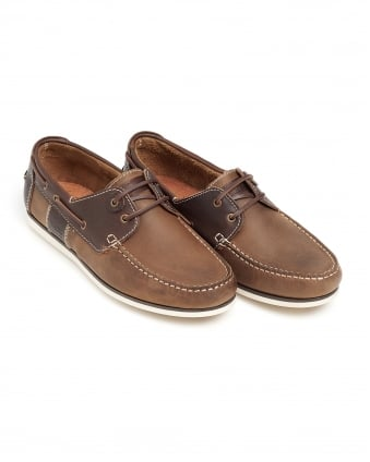 Mens Capstan Deck Shoe, Lace-Up Brown Moccasin