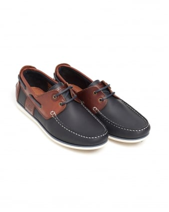 Mens Capstan Deck Shoe, Lace-Up Navy Moccasin
