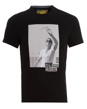 Mens Catch T-Shirt, Steve McQueen Frisbee Black Tee