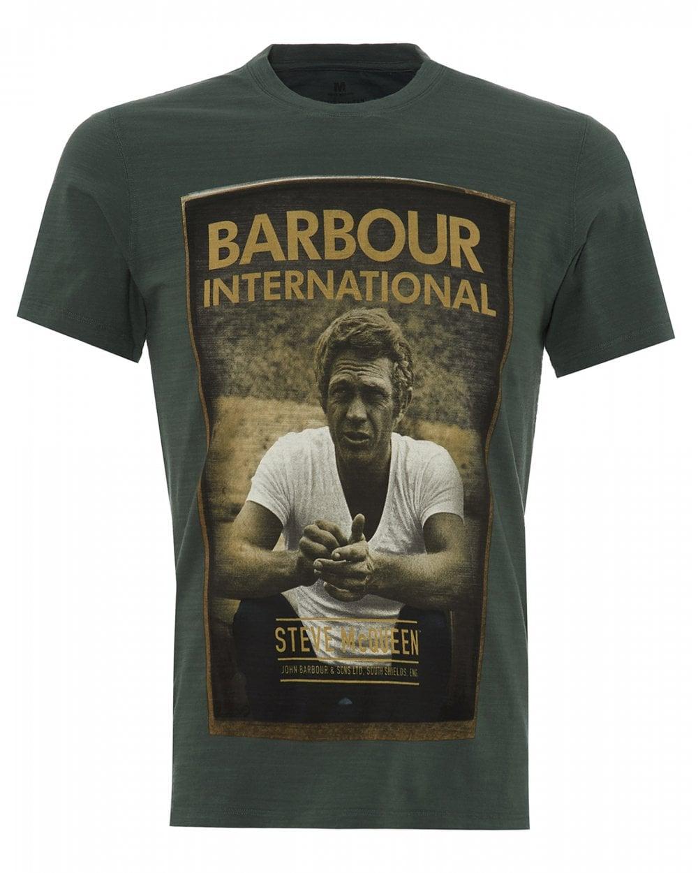 barbour international mens steve mcqueen t shirt green. Black Bedroom Furniture Sets. Home Design Ideas