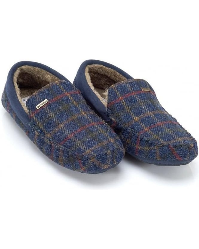 Barbour Moons Tartan Navy Check Monty Slippers