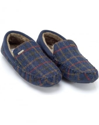 Moons Tartan Navy Check Monty Slippers