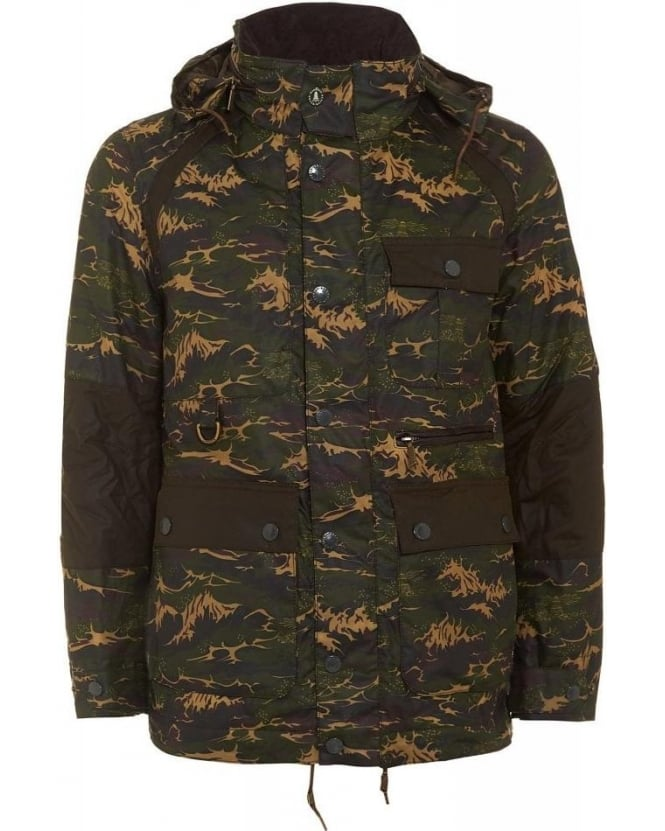 Barbour X White Mountaineering Brantmoto Olive Camo Wax Jacket