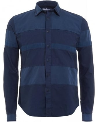 X White Mountaineering Finhara Shirt Dress Blue Corduroy Panel Shirt