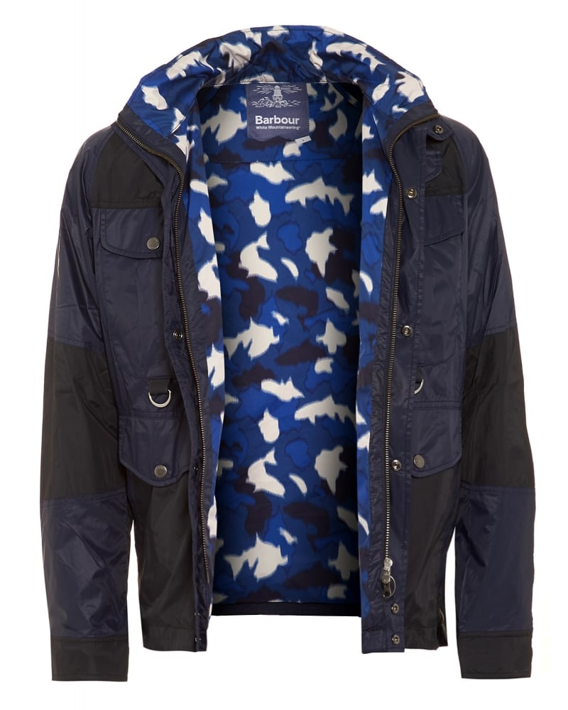b3516bf9d044 X White Mountaineering Mens Jacket Kitefin Slim Casual Navy Camo Jacket
