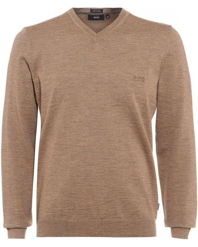 Hugo Boss Black Batisse-E Sweater, Beige V-Neck Taupe Jumper