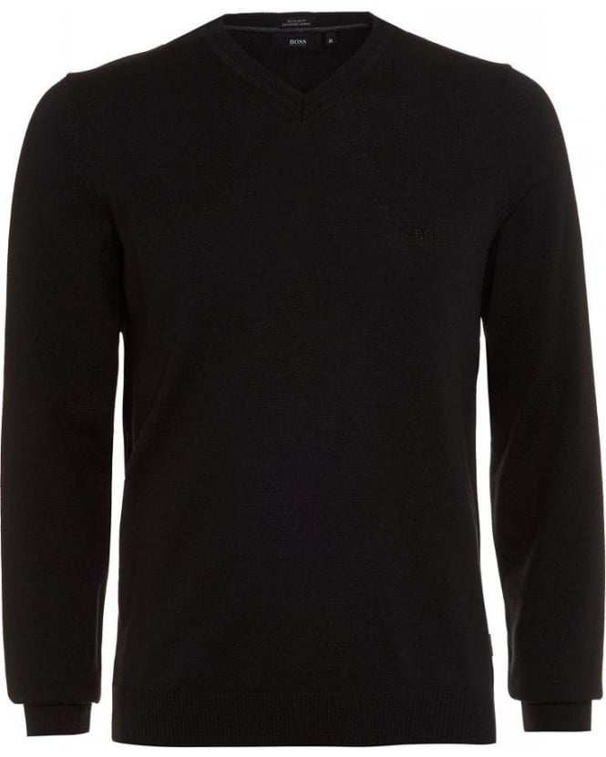Hugo Boss Black Batisse-E Sweater, Black V-Neck Jumper