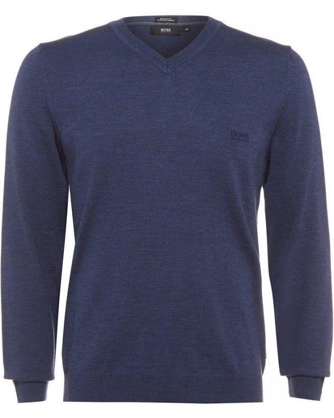 Hugo Boss Black Batisse-E Sweater, V-Neck Denim Blue Jumper