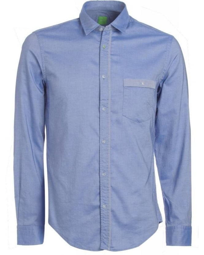Hugo Boss Green 'Bayos' Blue Striped Detail Regular Fit Shirt