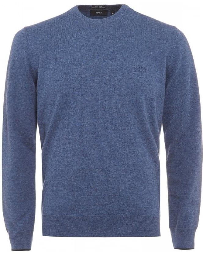 Hugo Boss Black Beggle-E Sweater, Denim Blue Wool Jumper