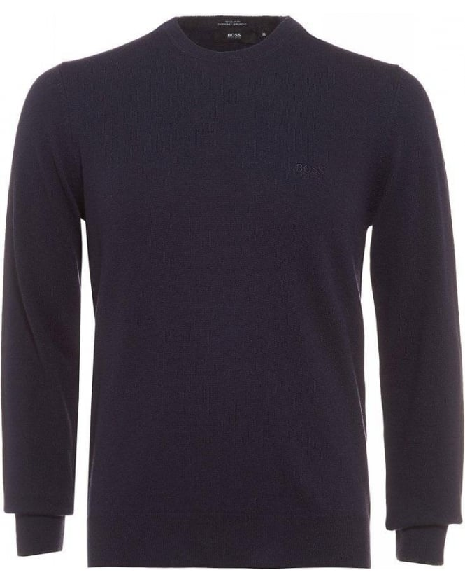 Hugo Boss Black Beggle-E Sweater, Navy Blue Wool Jumper