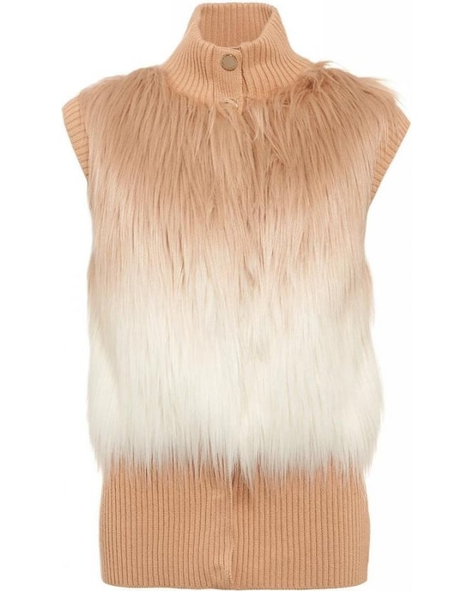 Patrizia Pepe Beige and White Fur Gilet