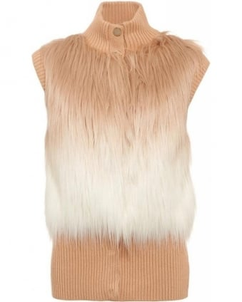 Beige and White Fur Gilet