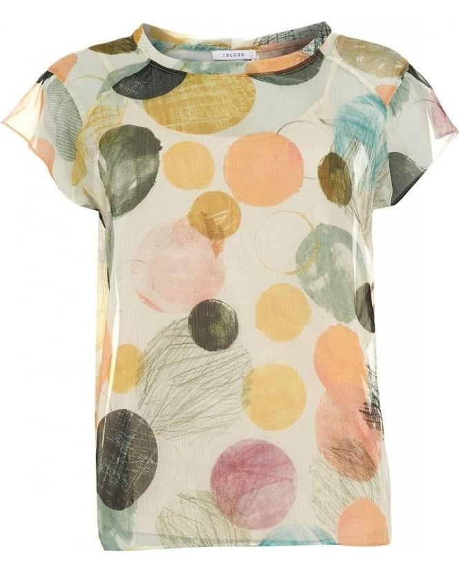 I Blues Beige Multi 'Luisa' Short Sleeve Top