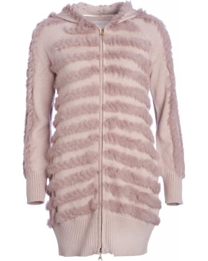 Patrizia Pepe Beige Wool And Rabbit Fur Hooded Cardigan