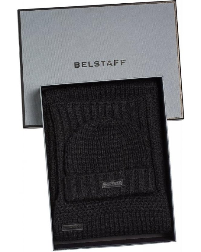 Belstaff Black Heathleigh Scarf and Ardleigh Beanie Hat Gift Set