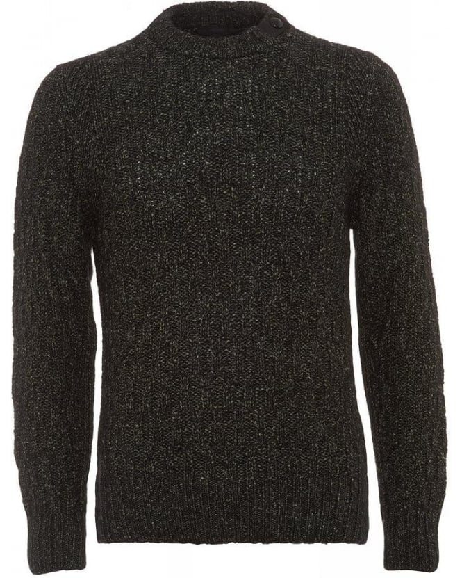 Belstaff Ferndale Knit Green Flecked Merino Wool Jumper