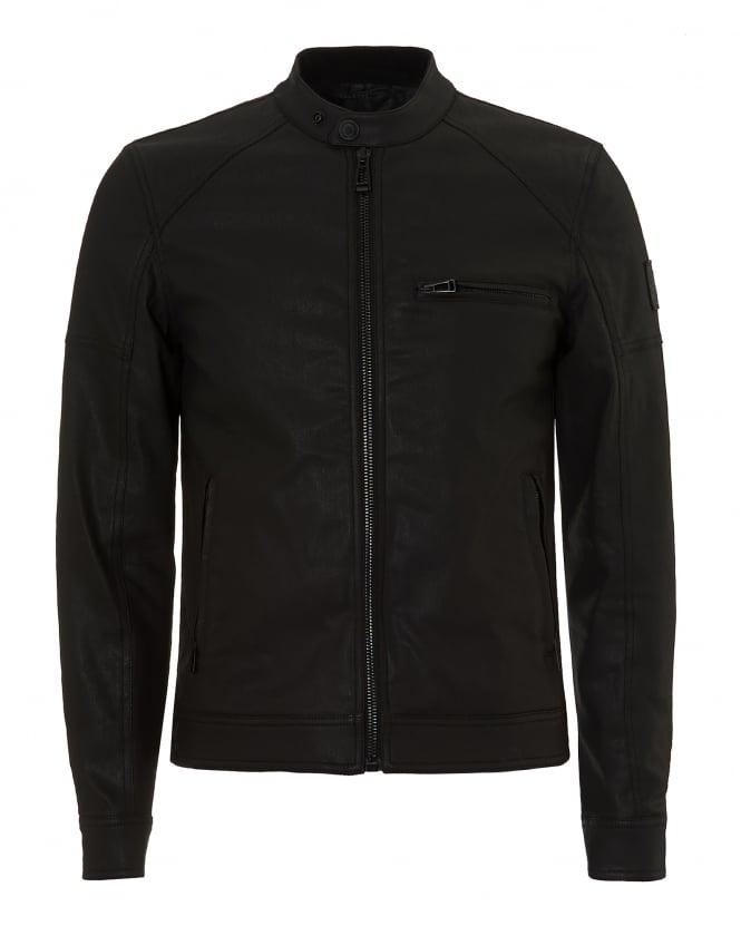 belstaff mens beckford coated denim black biker jacket